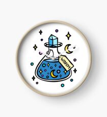 Wisdom Magic Potion Bottle. Magical Blue Intelligence Potion Brew. Wizard and Witch Brew. Halloween. Moon and Stars. Clock