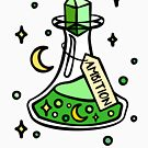 Green Ambition Magic Potion Brew, Witch, Wizard, Magical Halloween Potion. Moon and Stars, Wizardry Potion Master. by tachadesigns