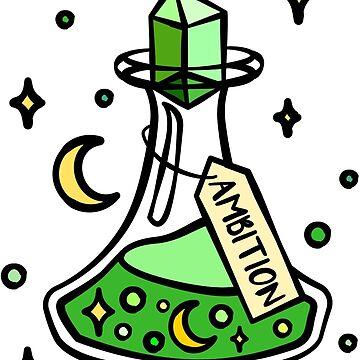 Grüner Ehrgeiz Zaubertrank Gebräu, Hexe, Zauberer, Magischer Halloweentrank. Mond und Sterne, Wizardry Potion Master. von tachadesigns