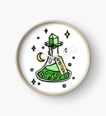 Green Ambition Magic Potion Brew, Witch, Wizard, Magical Halloween Potion. Moon and Stars, Wizardry Potion Master. Clock