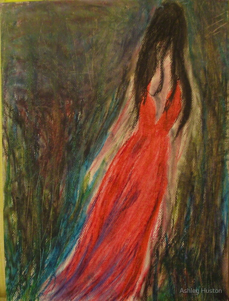 Red Lady In Deep Dark Forest by Ashley Huston