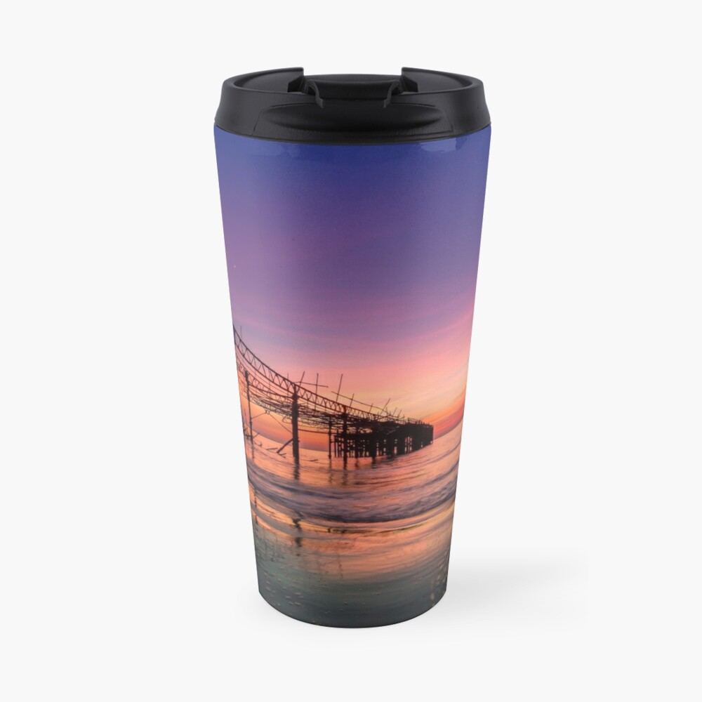Totland Pier Caught In The Afterglow Travel Mug