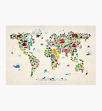 Tierkarte der Welt Fotodruck