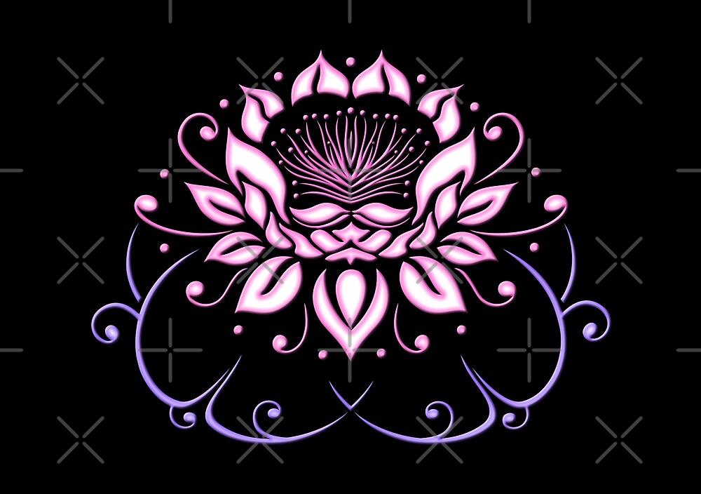 Lotusblume, Lotus mit Blättern. Yoga. von Christine Krahl