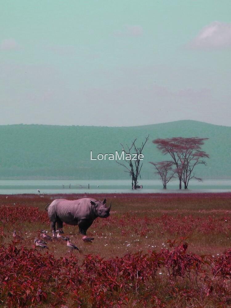 Black Rhino in Pink by LoraMaze