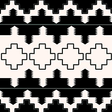 Rustic Native Indian black and white pattern by hellcom
