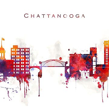 Colorful Chattanooga watercolor skyline by DimDom