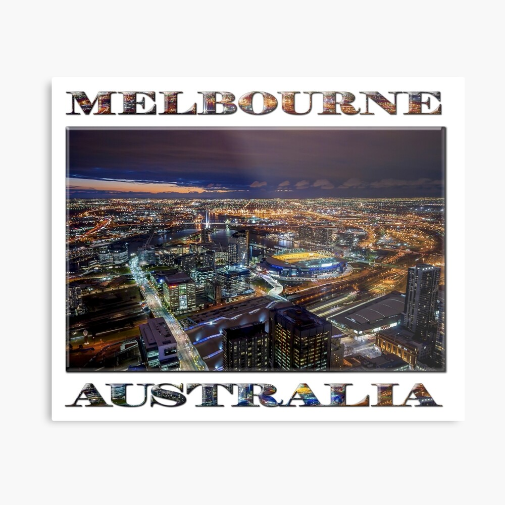 Melbourne at Night (poster on white) Metal Print