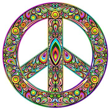 Peace symbol brightly decorated by headpossum