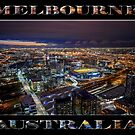 Melbourne at Night (poster on black) by Ray Warren