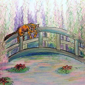 Cat in Monet's Garden by JacquesArt