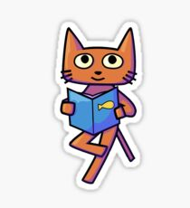 Smart Cat with Book Sticker