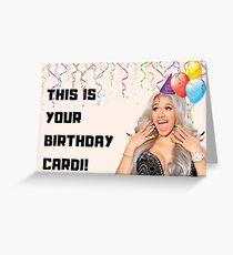 Cardi B birthday card, rapper birthday card, music birthday card, meme greeting cards Greeting Card