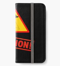 Caution Funny Alien Shirt iPhone Wallet/Case/Skin