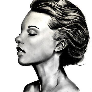 beautiful girl with short hair in black and white by stoekenbroek