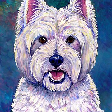 Colorful West Highland White Terrier Dog Blue Background by lioncrusher
