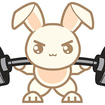 Cute Weightlifting Bunny Cartoon - Squat - Leg Day by mchanfitness