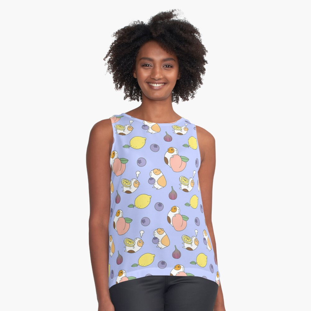 Guinea pig and blueberry  Sleeveless Top