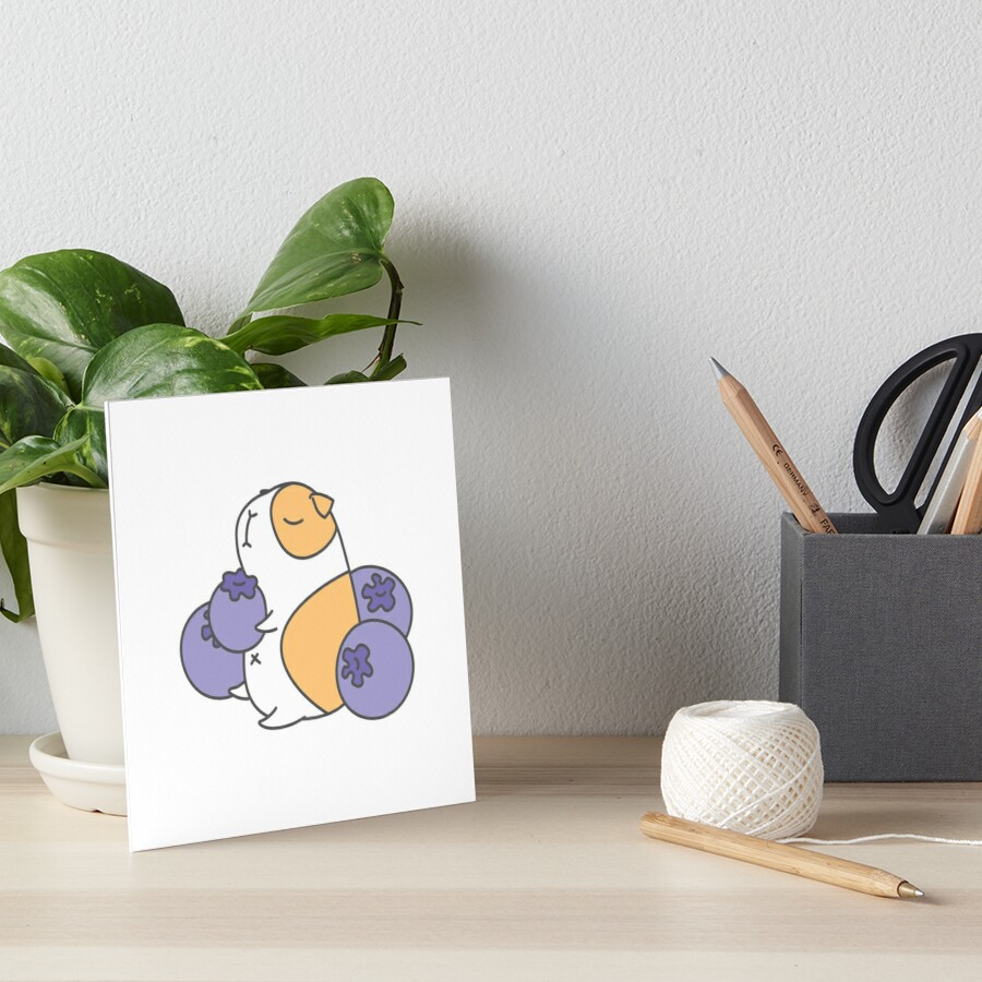 Guinea pig and blueberry  Art Board Print