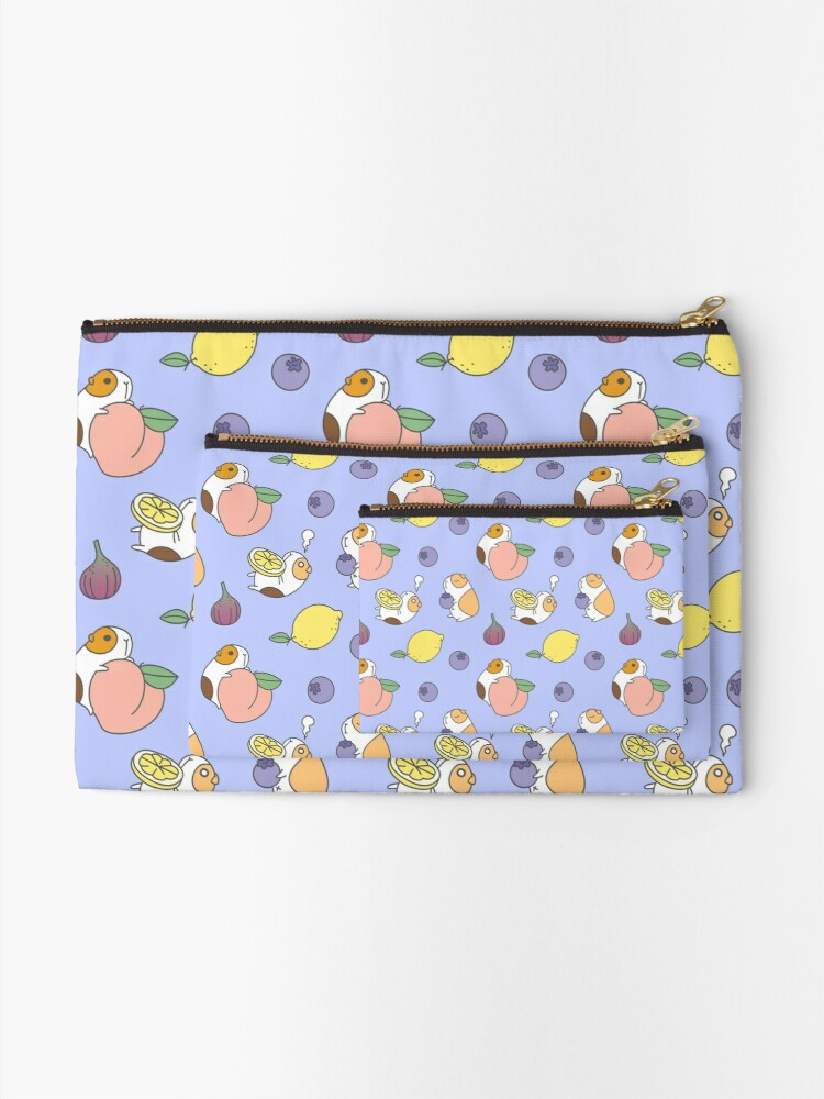 Alternate view of Guinea pig and blueberry  Zipper Pouch