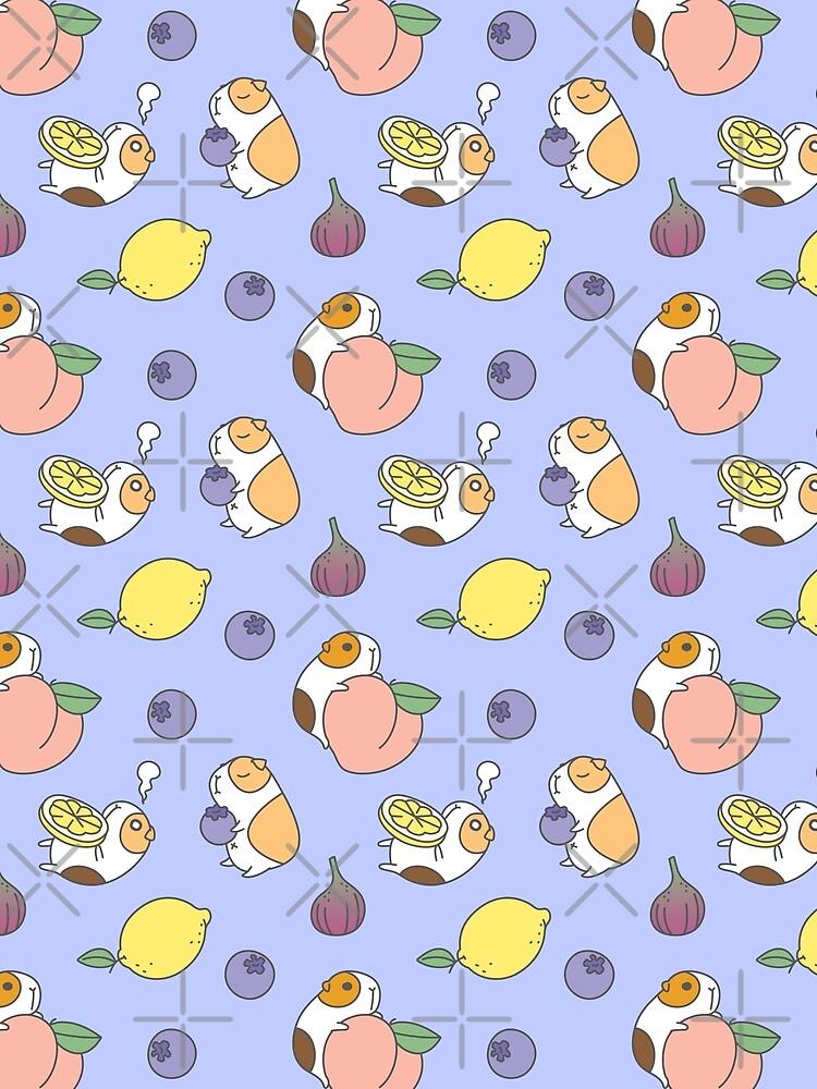 Guinea pig and blueberry  by Miri-Noristudio