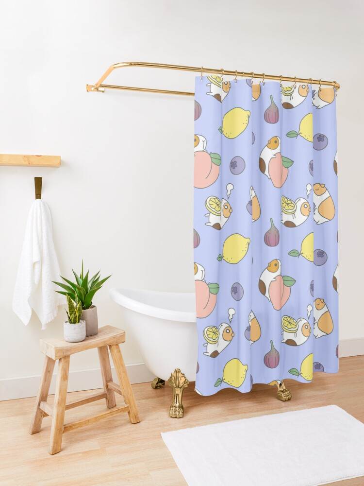 Alternate view of Guinea pig and blueberry  Shower Curtain