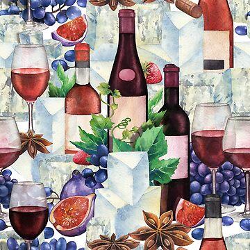Watercolor wine glasses and bottles decorated with delicious food by Glazkova