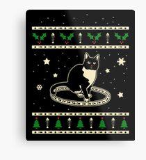 Christmas Tuxedo Cat Gift Metal Print
