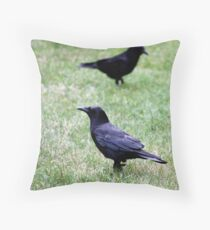 Two Crows Passing in the Day Throw Pillow
