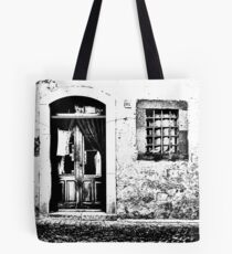 Vulture: door and window on pink wall Tote Bag