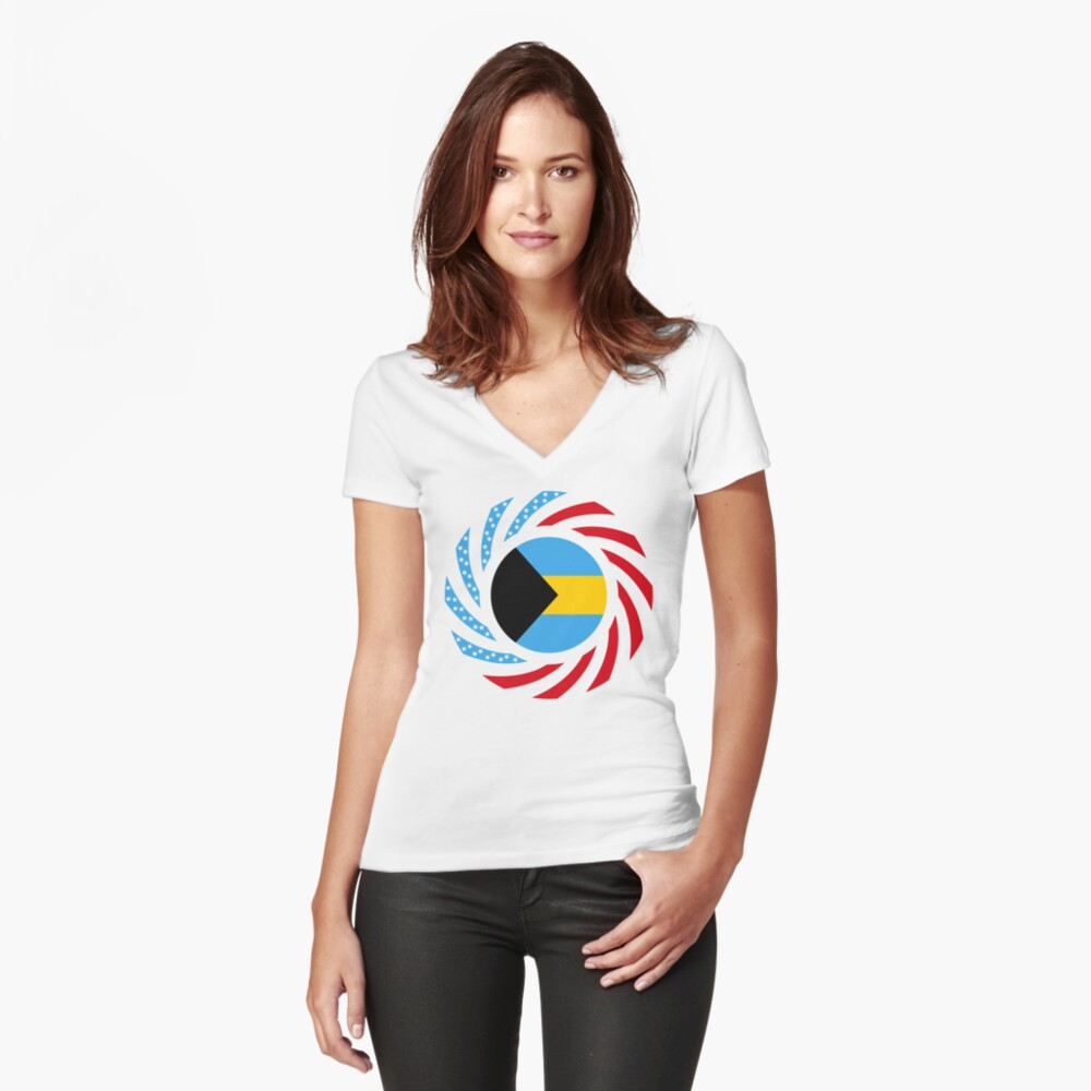 Bahamian American Multinational Patriot Flag Series Fitted V-Neck T-Shirt
