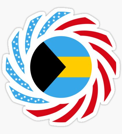 Bahamian American Multinational Patriot Flag Series Glossy Sticker
