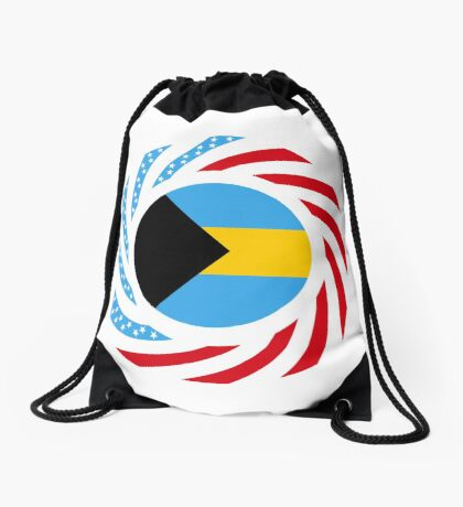 Bahamian American Multinational Patriot Flag Series Drawstring Bag