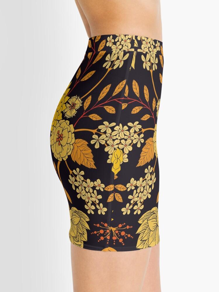 Alternate view of Yellow, Orange & Navy Blue Dark Floral Pattern Mini Skirt