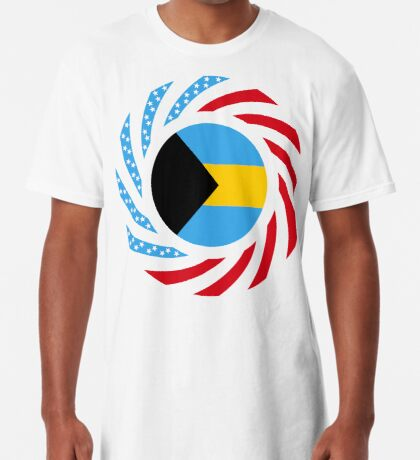 Bahamian American Multinational Patriot Flag Series Long T-Shirt