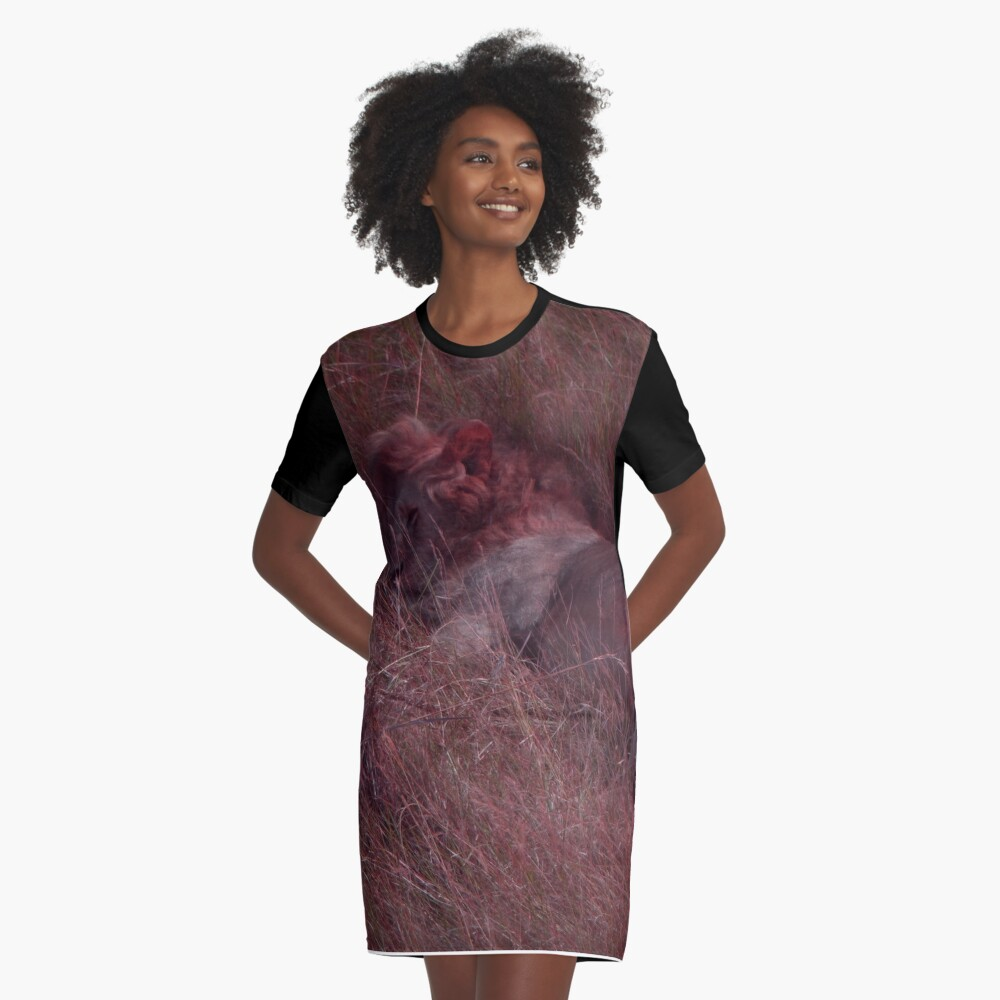 Sleeping Lion in Red Graphic T-Shirt Dress Front