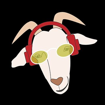 Funny Goat Wearing Shades and Listening to Hip Hop by LADGraphics