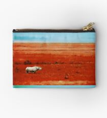 Rhino in Red with Blue Sky Studio Pouch