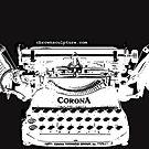 Inverted B&W Corona Typewriter Sculpture Image by octotypewriter