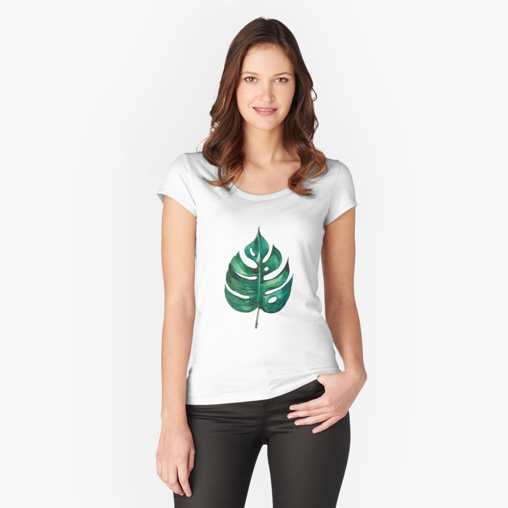 Monstera Banana Palm Leaf Fitted Scoop T-Shirt