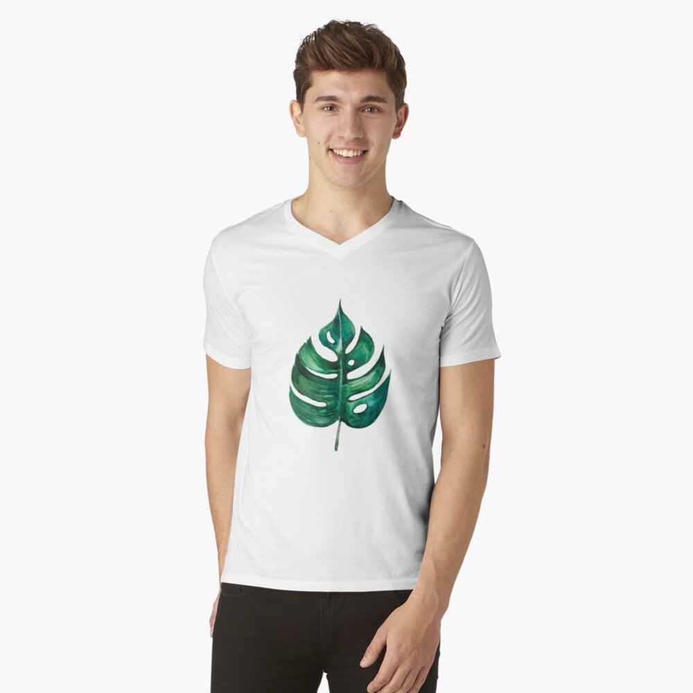 Monstera Bananen Palmblatt T-Shirt mit V-Ausschnitt