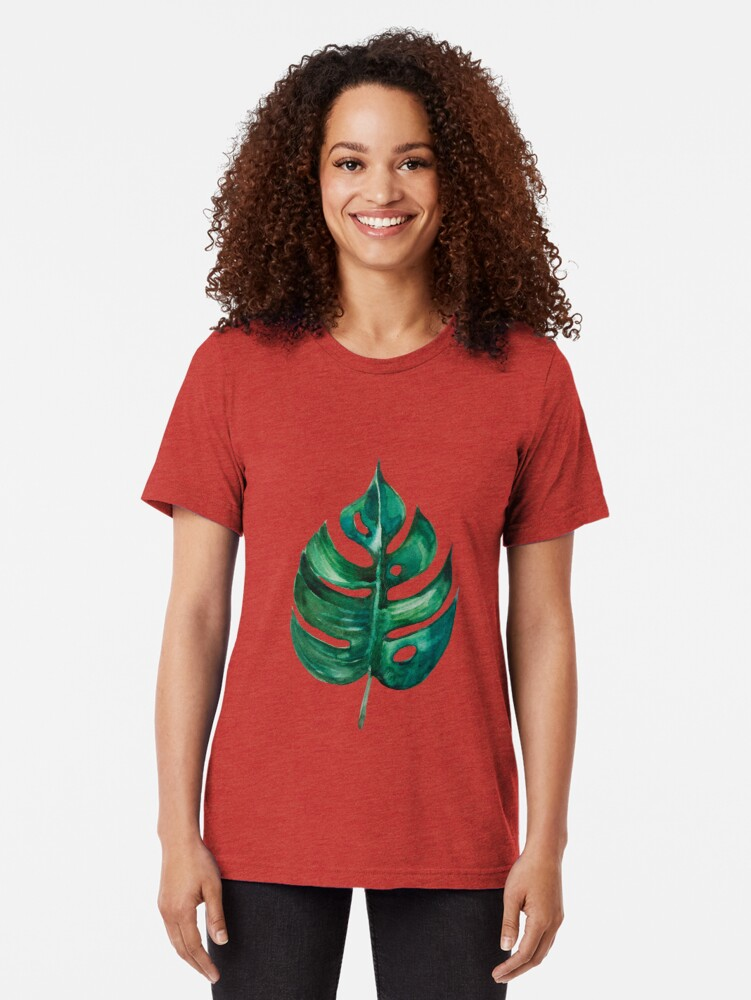 Alternate view of Monstera Banana Palm Leaf Tri-blend T-Shirt