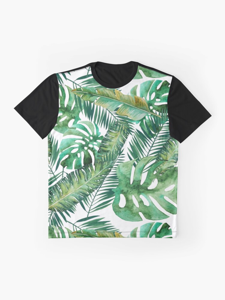 Alternate view of Monstera Banana Palm Leaf Graphic T-Shirt