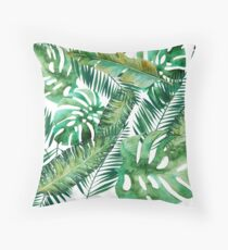 Monstera Banana Palm Leaf Throw Pillow