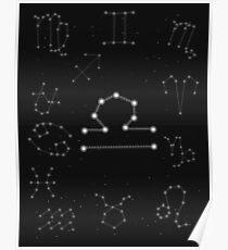 Waage Sternzeichen Konstellation Design Poster