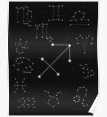 Saggitarius Sternzeichen Konstellation Design Poster