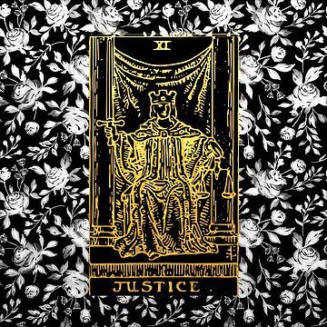 Floral Tarot Print - Justice by annaleebeer