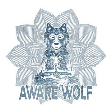 Aware Wolf - Meditating Werewolf - Blue Mandala by jitterfly