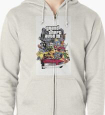 Grand Theft Auto 3 EU cover poster Zipped Hoodie