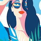 Red Lipstick Girl Tropical Art Deco by scooterbaby